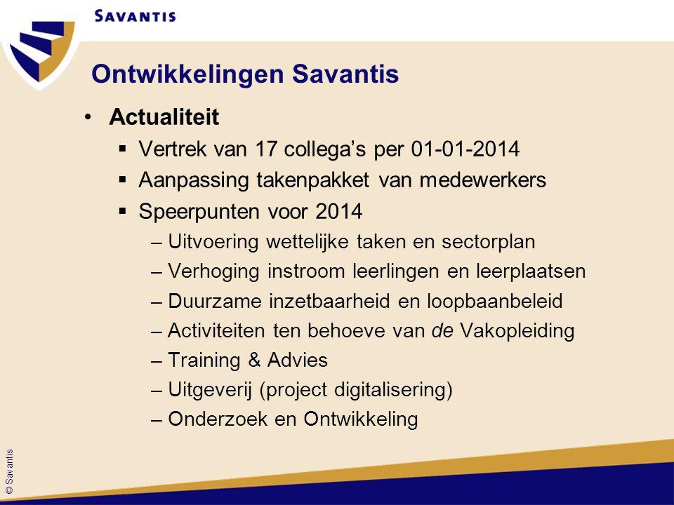 © Savantis Takenpakket Savantis 2.0 •Onderzoek •Examinering •Uitvoeren van vakopleidingen •Loopbaan- en opleidingsadvisering •Ontwikkeling en uitvoering trainingen •Subsidieverwerving en -administratie •Ontwikkeling en uitgeven leermiddelen •Beleidsadvisering en beleidsvoorbereiding