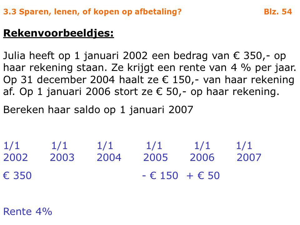 3.3 Sparen, lenen, of kopen op afbetaling? Blz. 54 Rekenvoorbeeldjes: Julia heeft op 1 januari 2002 een bedrag van € 350,- op haar rekening staan. Ze