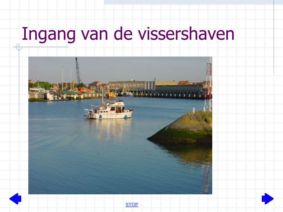 Ingang van de vissershaven STOP
