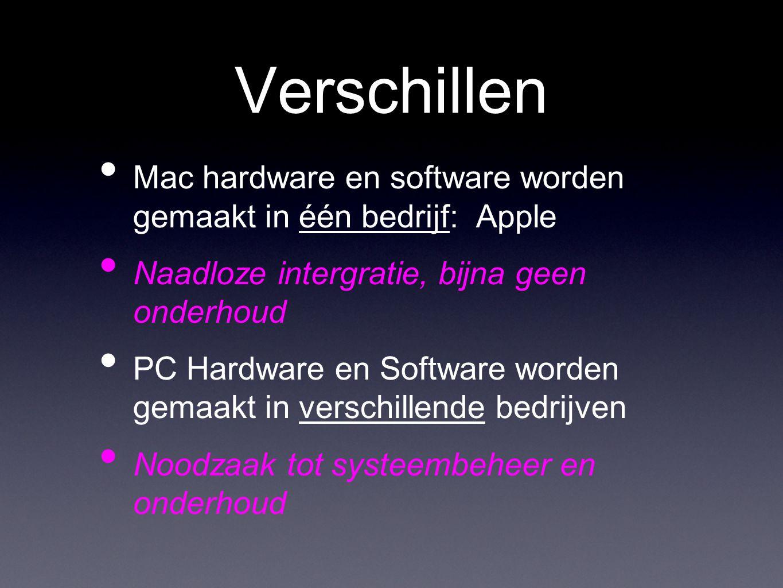 Verschillen • Mac hardware en software worden gemaakt in één bedrijf: Apple • Naadloze intergratie, bijna geen onderhoud • PC Hardware en Software worden gemaakt in verschillende bedrijven • Noodzaak tot systeembeheer en onderhoud
