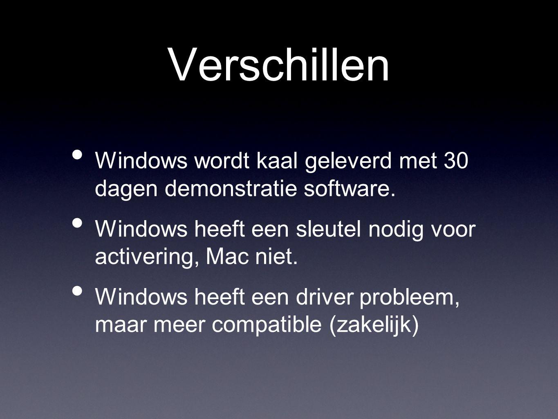 Verschillen • Windows wordt kaal geleverd met 30 dagen demonstratie software.