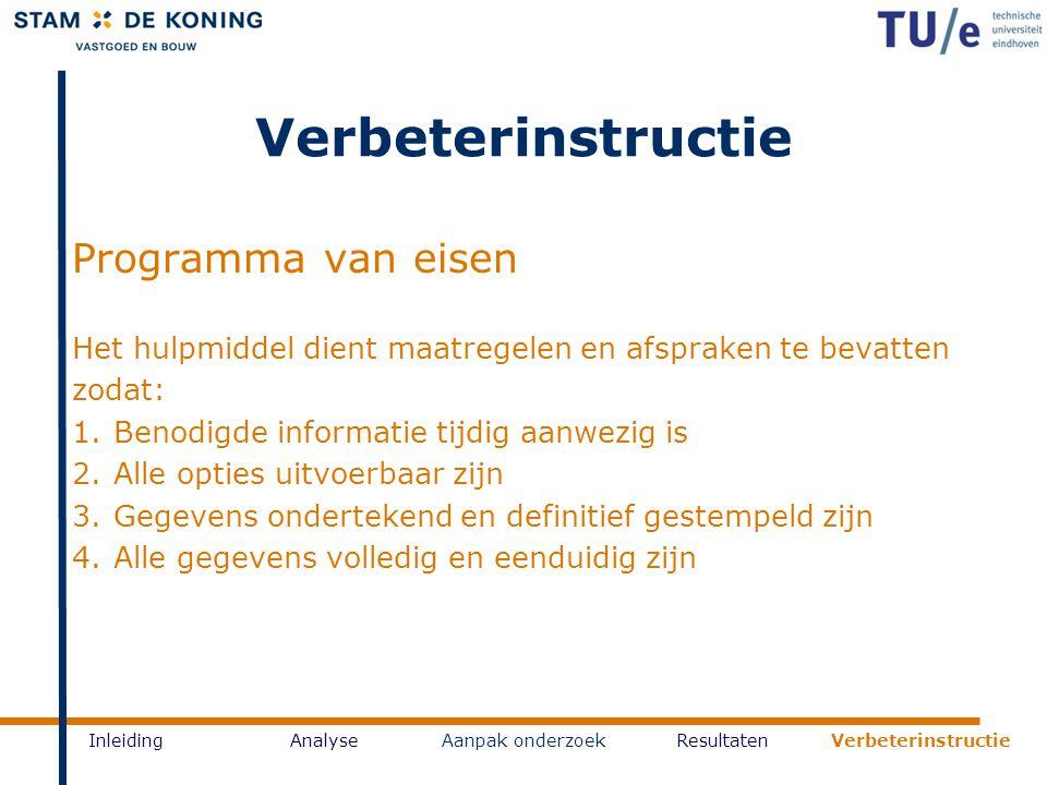 InleidingAnalyseAanpak onderzoekResultaten Verbeterinstructie Programma van eisen Het hulpmiddel dient maatregelen en afspraken te bevatten zodat: 1.B
