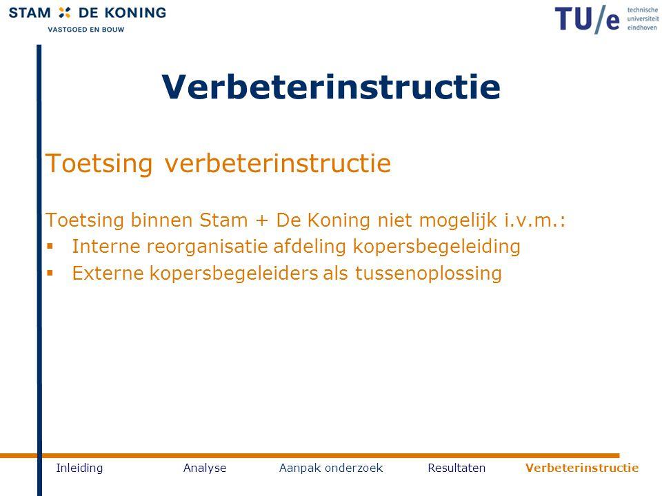 Verbeterinstructie InleidingAnalyseAanpak onderzoekResultaten Verbeterinstructie Toetsing verbeterinstructie Toetsing binnen Stam + De Koning niet mog
