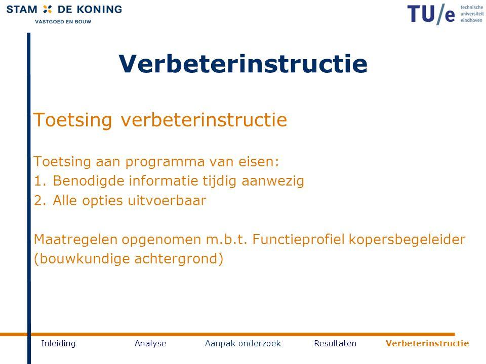 InleidingAnalyseAanpak onderzoekResultaten Verbeterinstructie Toetsing verbeterinstructie Toetsing aan programma van eisen: 1.Benodigde informatie tij