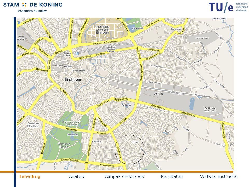 Inleiding AnalyseAanpak onderzoekResultatenVerbeterinstructie Kruidenbuurt Eindhoven  740 bestaande woningen  650 nieuwe woningen  Zowel hoog- als laagbouw  Complete nieuwe infrastructuur  Verdeeld over 4 fasen, laatste gereed in 2012