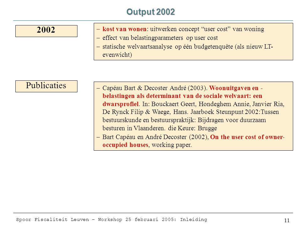 Spoor Fiscaliteit Leuven – Workshop 25 februari 2005: Inleiding 11 Output 2002 2002 –kost van wonen: uitwerken concept user cost van woning –effect van belastingparameters op user cost –statische welvaartsanalyse op één budgetenquête (als nieuw LT- evenwicht) Publicaties –Capéau Bart & Decoster André (2003).