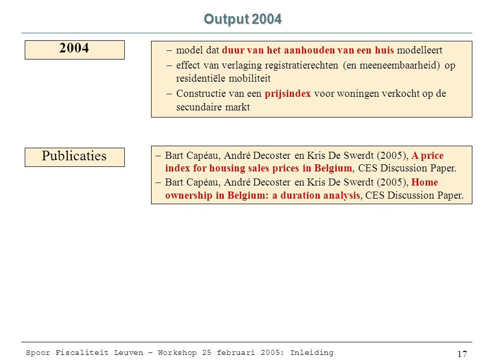 Spoor Fiscaliteit Leuven – Workshop 25 februari 2005: Inleiding 17 Output 2004 2004 Publicaties –model dat duur van het aanhouden van een huis modelleert –effect van verlaging registratierechten (en meeneembaarheid) op residentiële mobiliteit –Constructie van een prijsindex voor woningen verkocht op de secundaire markt –Bart Capéau, André Decoster en Kris De Swerdt (2005), A price index for housing sales prices in Belgium, CES Discussion Paper.