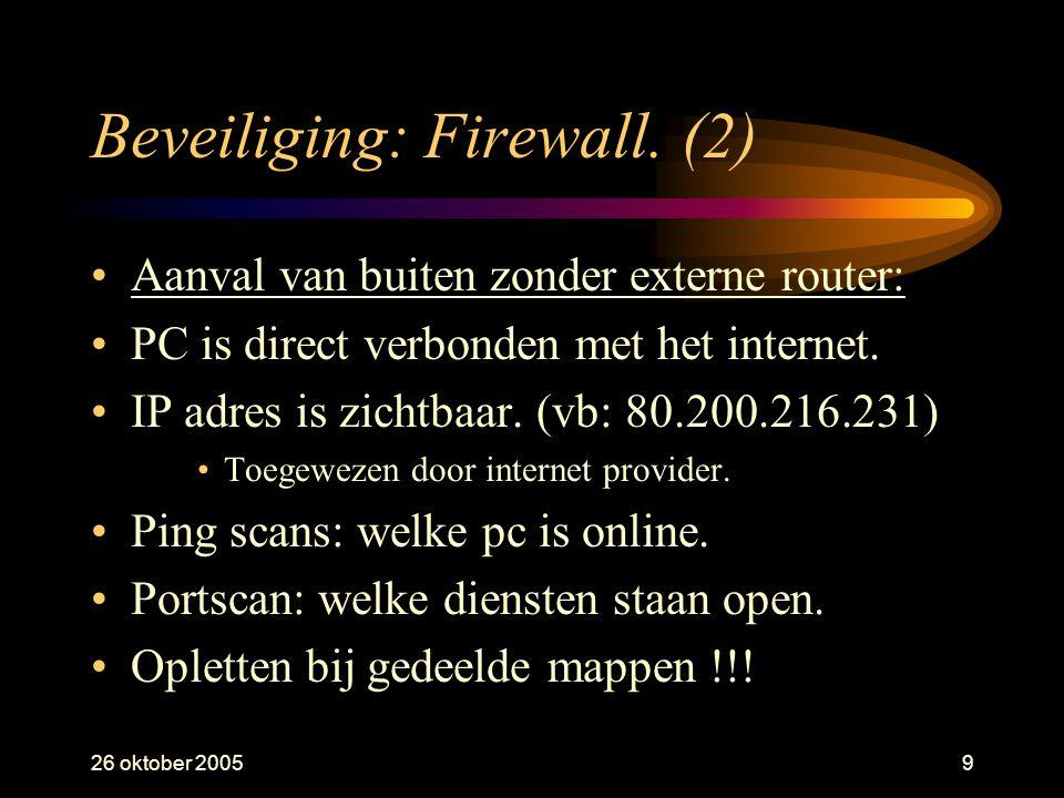 26 oktober 20059 Beveiliging: Firewall. (2) •Aanval van buiten zonder externe router: •PC is direct verbonden met het internet. •IP adres is zichtbaar