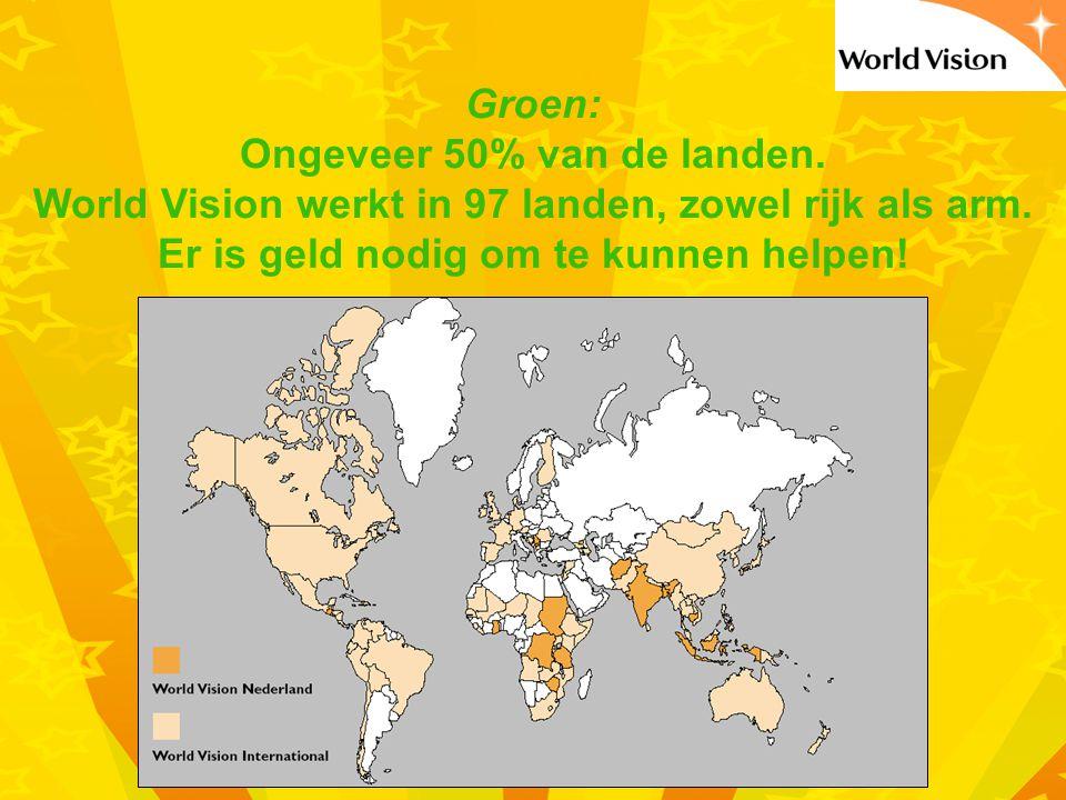 Groen: Ongeveer 50% van de landen.World Vision werkt in 97 landen, zowel rijk als arm.