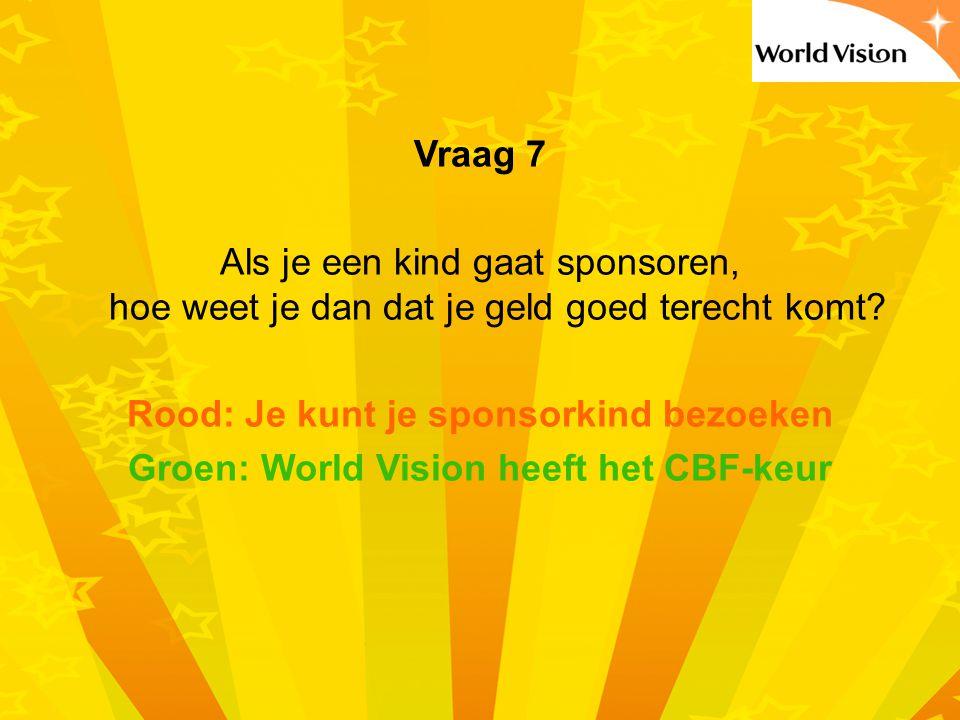 Vraag 7 Als je een kind gaat sponsoren, hoe weet je dan dat je geld goed terecht komt.