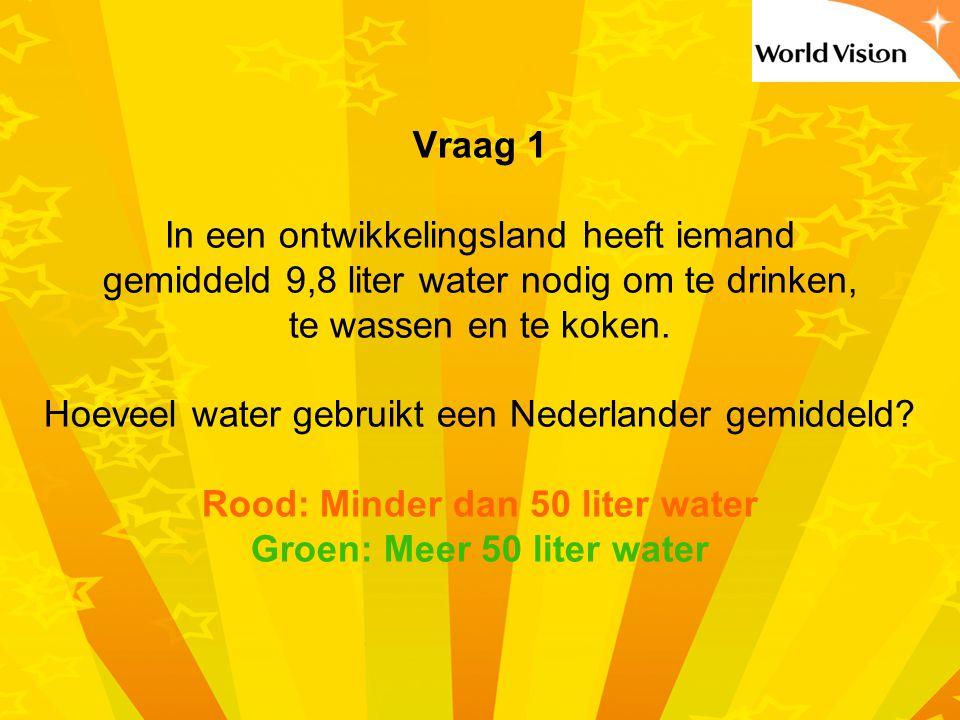 Vraag 1 In een ontwikkelingsland heeft iemand gemiddeld 9,8 liter water nodig om te drinken, te wassen en te koken.