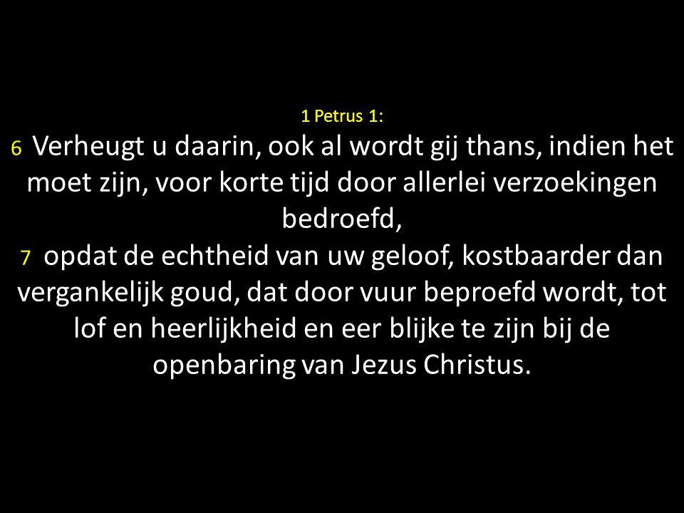 1 Petrus 1: 6 Verheugt u daarin, ook al wordt gij thans, indien het moet zijn, voor korte tijd door allerlei verzoekingen bedroefd, 7 opdat de echtheid van uw geloof, kostbaarder dan vergankelijk goud, dat door vuur beproefd wordt, tot lof en heerlijkheid en eer blijke te zijn bij de openbaring van Jezus Christus.