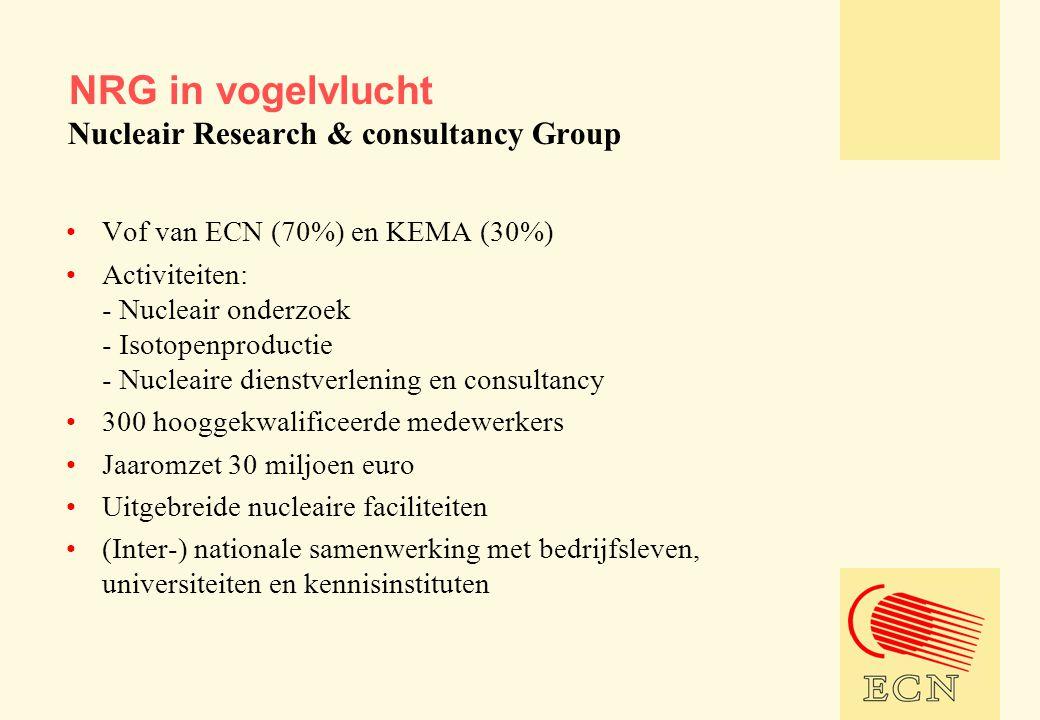 •Vof van ECN (70%) en KEMA (30%) •Activiteiten: - Nucleair onderzoek - Isotopenproductie - Nucleaire dienstverlening en consultancy •300 hooggekwalificeerde medewerkers •Jaaromzet 30 miljoen euro •Uitgebreide nucleaire faciliteiten •(Inter-) nationale samenwerking met bedrijfsleven, universiteiten en kennisinstituten NRG in vogelvlucht Nucleair Research & consultancy Group