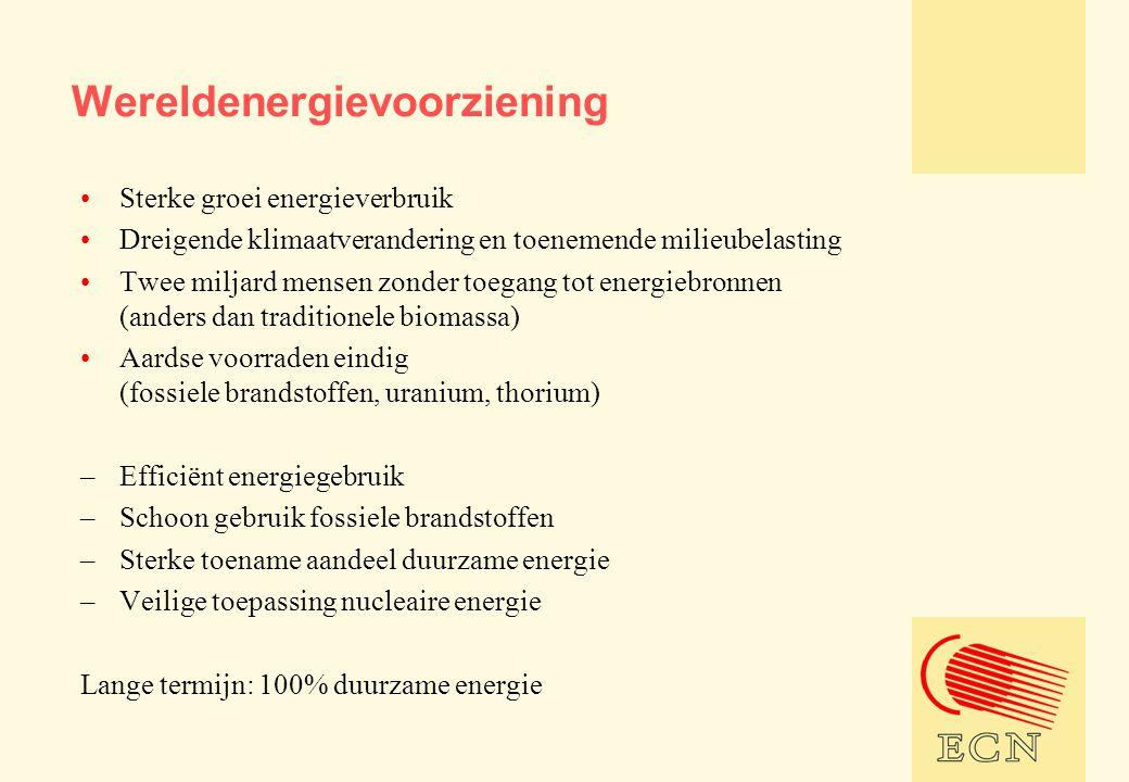 Wereldenergievoorziening •Sterke groei energieverbruik •Dreigende klimaatverandering en toenemende milieubelasting •Twee miljard mensen zonder toegang tot energiebronnen (anders dan traditionele biomassa) •Aardse voorraden eindig (fossiele brandstoffen, uranium, thorium) –Efficiënt energiegebruik –Schoon gebruik fossiele brandstoffen –Sterke toename aandeel duurzame energie –Veilige toepassing nucleaire energie Lange termijn: 100% duurzame energie