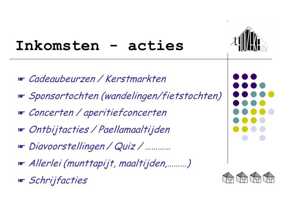 Inkomsten - acties ☛ Cadeaubeurzen / Kerstmarkten ☛ Sponsortochten (wandelingen/fietstochten) ☛ Concerten / aperitiefconcerten ☛ Ontbijtacties / Paell