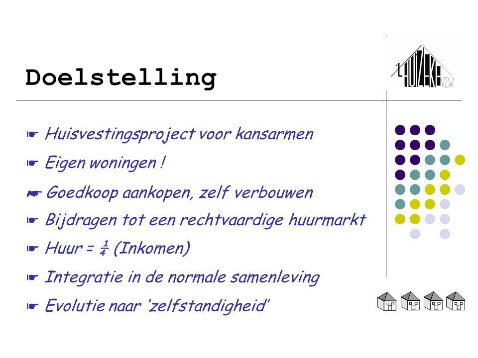 Doelstelling ☛ Huisvestingsproject voor kansarmen ☛ Eigen woningen ! ☛ Goedkoop aankopen, zelf verbouwen ☛ Bijdragen tot een rechtvaardige huurmarkt ☛