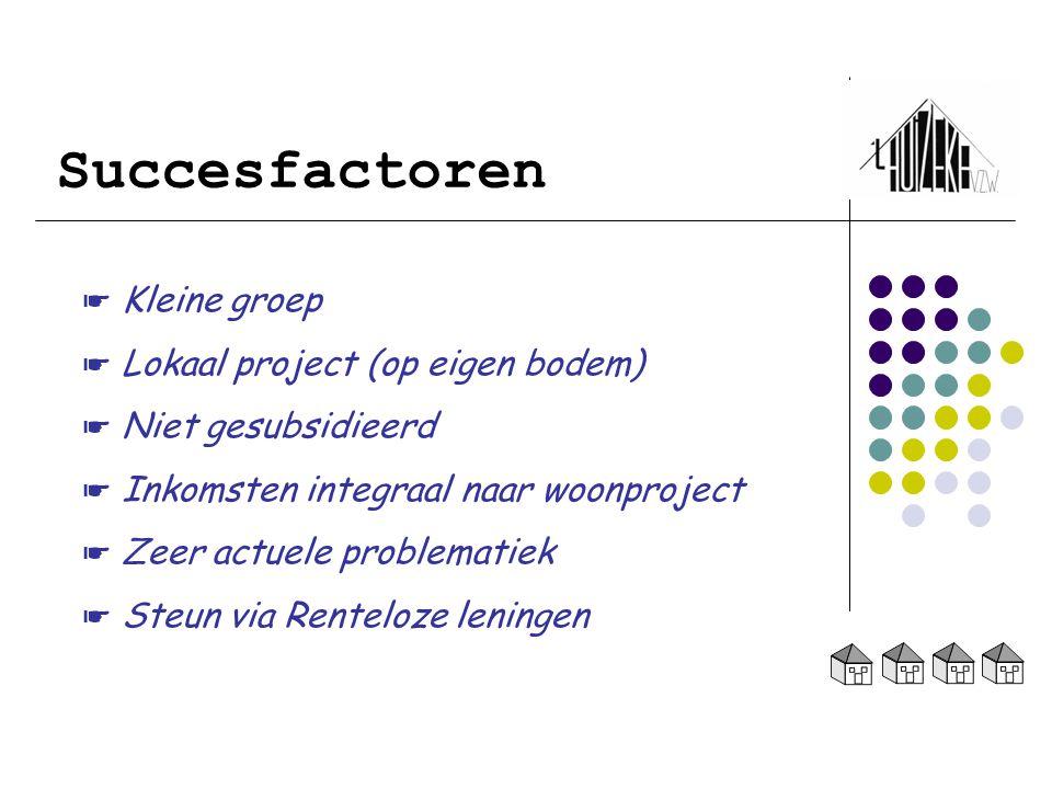 Succesfactoren ☛ Kleine groep ☛ Lokaal project (op eigen bodem) ☛ Niet gesubsidieerd ☛ Inkomsten integraal naar woonproject ☛ Zeer actuele problematie