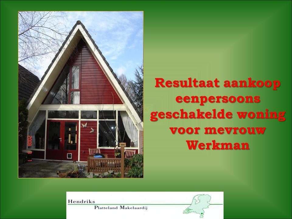 Resultaat aankoop eenpersoons geschakelde woning voor mevrouw Werkman