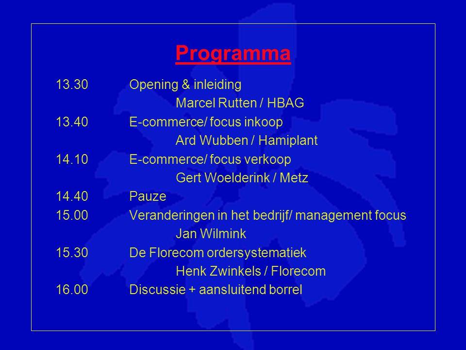 Programma 13.30 Opening & inleiding Marcel Rutten / HBAG 13.40 E-commerce/ focus inkoop Ard Wubben / Hamiplant 14.10 E-commerce/ focus verkoop Gert Woelderink / Metz 14.40 Pauze 15.00 Veranderingen in het bedrijf/ management focus Jan Wilmink 15.30De Florecom ordersystematiek Henk Zwinkels / Florecom 16.00Discussie + aansluitend borrel