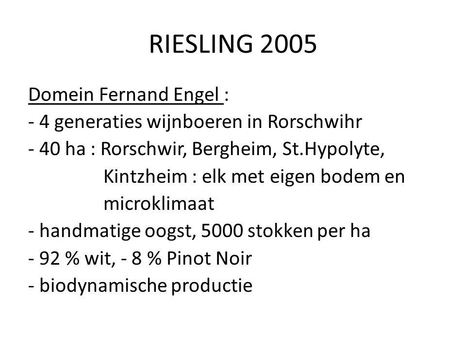 RIESLING 2005 Domein Fernand Engel : - 4 generaties wijnboeren in Rorschwihr - 40 ha : Rorschwir, Bergheim, St.Hypolyte, Kintzheim : elk met eigen bod