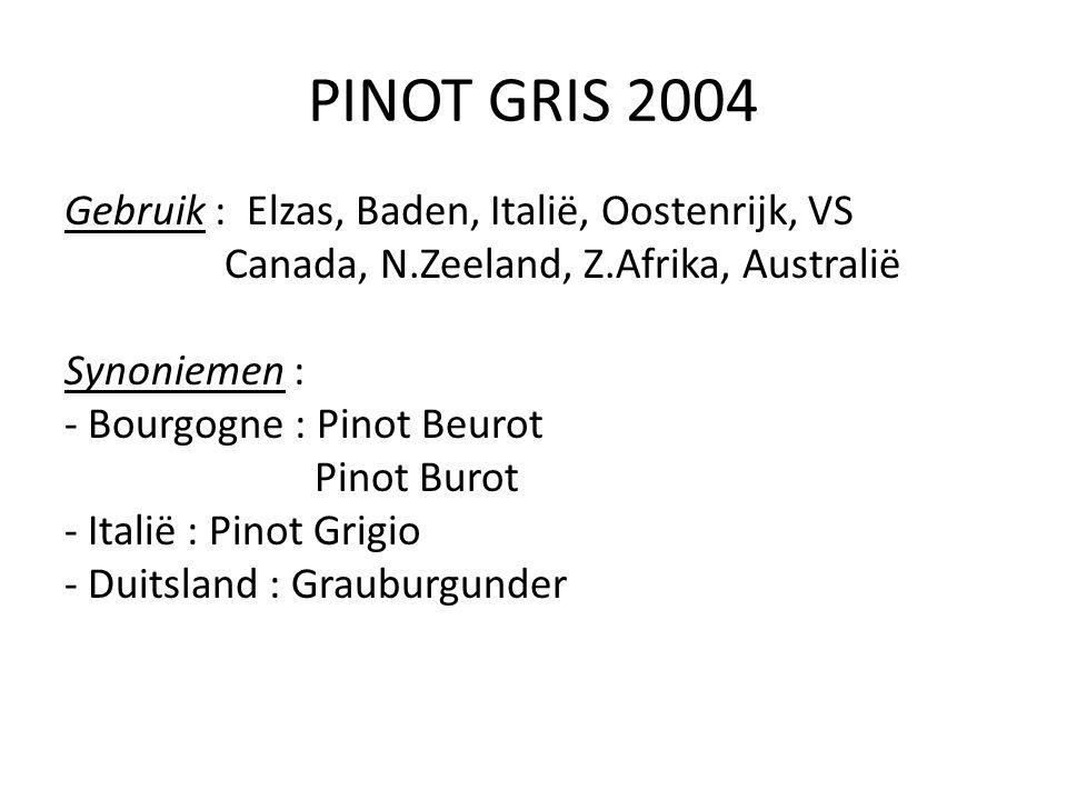 PINOT GRIS 2004 Gebruik : Elzas, Baden, Italië, Oostenrijk, VS Canada, N.Zeeland, Z.Afrika, Australië Synoniemen : - Bourgogne : Pinot Beurot Pinot Bu