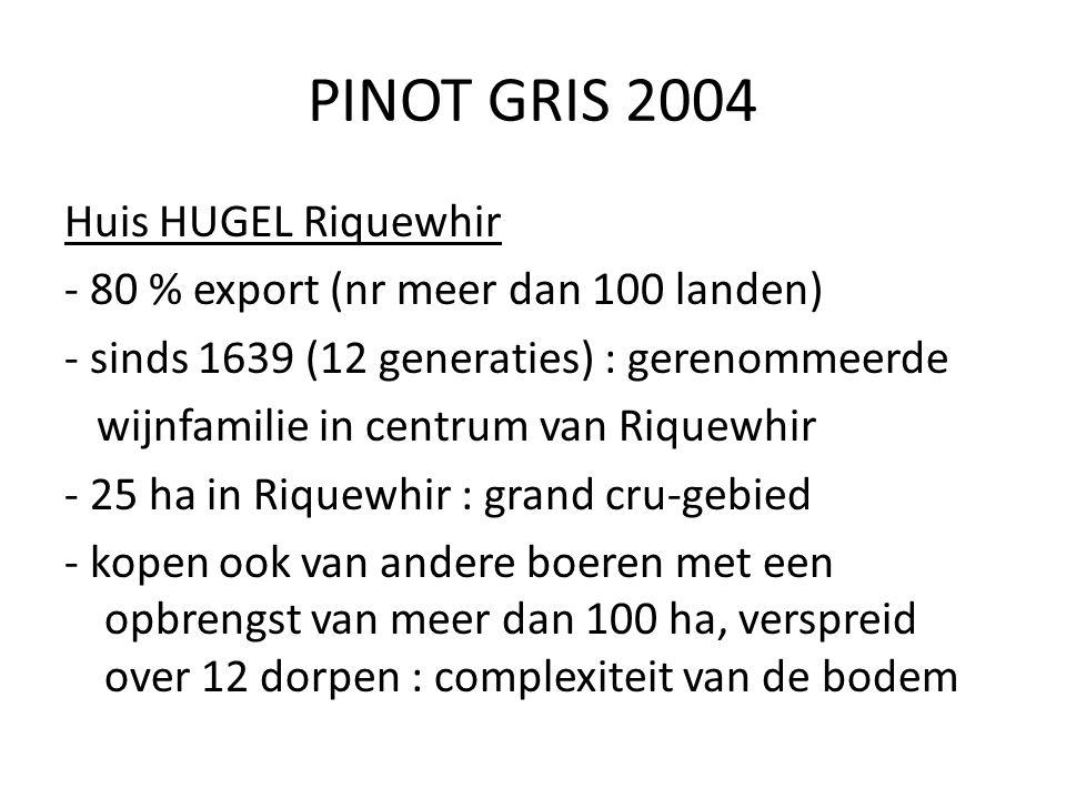 PINOT GRIS 2004 Huis HUGEL Riquewhir - 80 % export (nr meer dan 100 landen) - sinds 1639 (12 generaties) : gerenommeerde wijnfamilie in centrum van Ri
