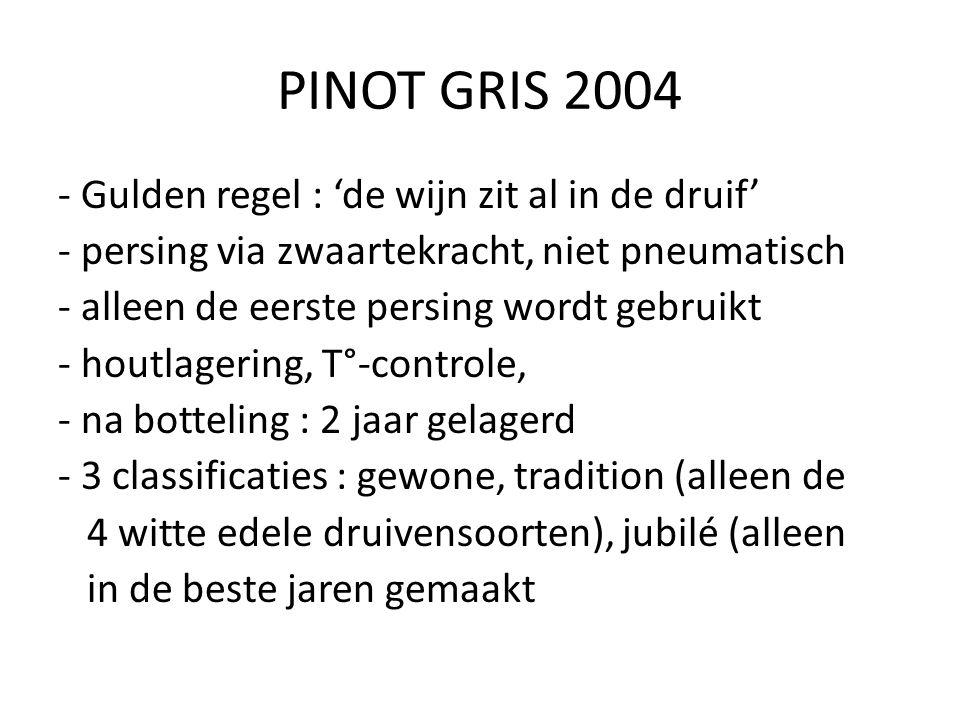 PINOT GRIS 2004 - Gulden regel : 'de wijn zit al in de druif' - persing via zwaartekracht, niet pneumatisch - alleen de eerste persing wordt gebruikt