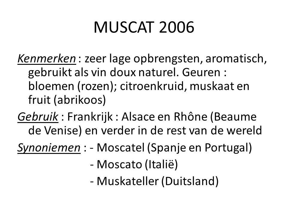 MUSCAT 2006 Kenmerken : zeer lage opbrengsten, aromatisch, gebruikt als vin doux naturel. Geuren : bloemen (rozen); citroenkruid, muskaat en fruit (ab