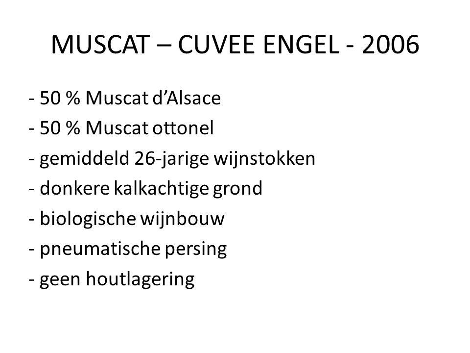 MUSCAT – CUVEE ENGEL - 2006 - 50 % Muscat d'Alsace - 50 % Muscat ottonel - gemiddeld 26-jarige wijnstokken - donkere kalkachtige grond - biologische w