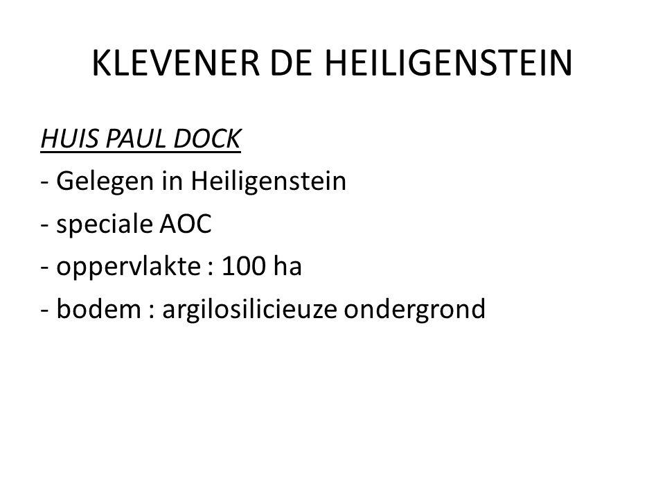 KLEVENER DE HEILIGENSTEIN HUIS PAUL DOCK - Gelegen in Heiligenstein - speciale AOC - oppervlakte : 100 ha - bodem : argilosilicieuze ondergrond