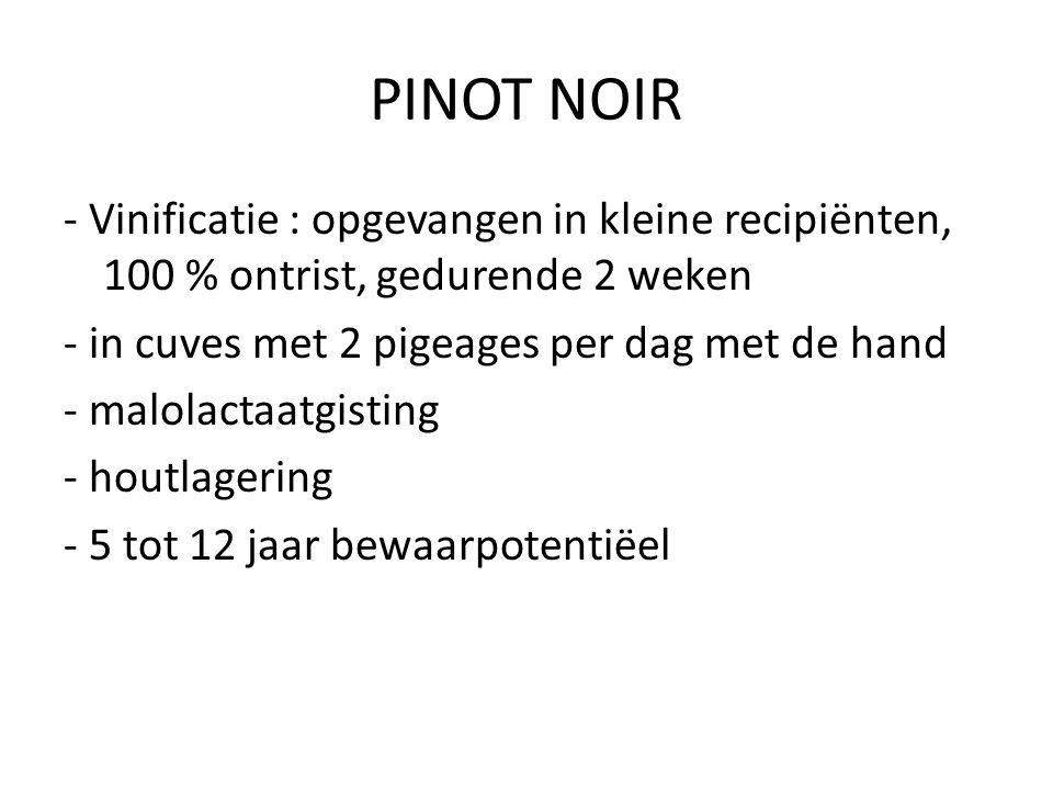 PINOT NOIR - Vinificatie : opgevangen in kleine recipiënten, 100 % ontrist, gedurende 2 weken - in cuves met 2 pigeages per dag met de hand - malolact