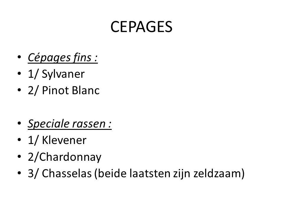 CEPAGES • Cépages fins : • 1/ Sylvaner • 2/ Pinot Blanc • Speciale rassen : • 1/ Klevener • 2/Chardonnay • 3/ Chasselas (beide laatsten zijn zeldzaam)