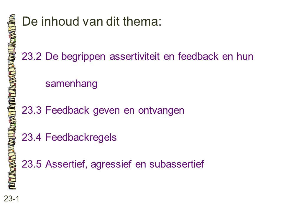 De inhoud van dit thema: 23-1 23.2De begrippen assertiviteit en feedback en hun samenhang 23.3 Feedback geven en ontvangen 23.4 Feedbackregels 23.5 As