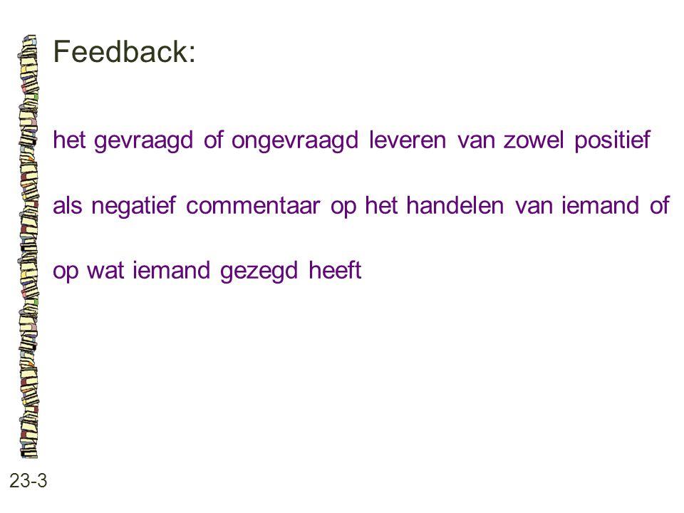 Feedback: 23-3 het gevraagd of ongevraagd leveren van zowel positief als negatief commentaar op het handelen van iemand of op wat iemand gezegd heeft