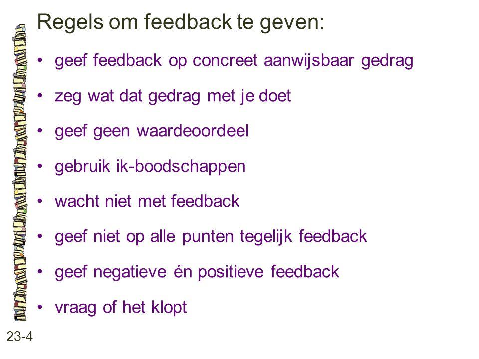 Regels om feedback te geven: 23-4 •geef feedback op concreet aanwijsbaar gedrag •zeg wat dat gedrag met je doet •geef geen waardeoordeel •gebruik ik-b
