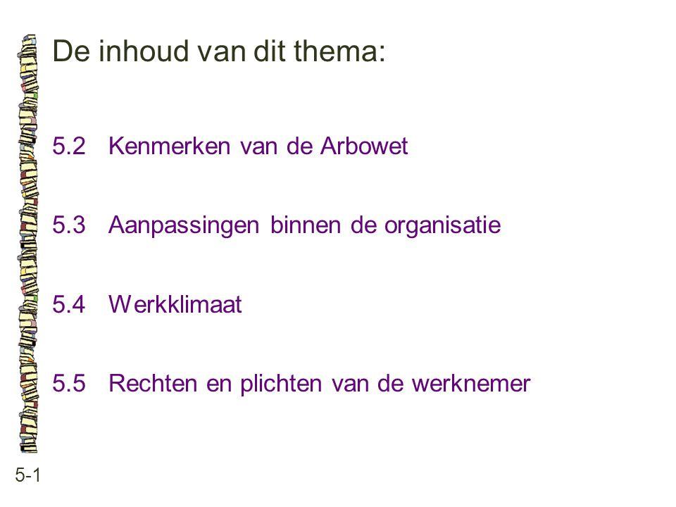 De inhoud van dit thema: 5-1 5.2Kenmerken van de Arbowet 5.3 Aanpassingen binnen de organisatie 5.4 Werkklimaat 5.5 Rechten en plichten van de werknem