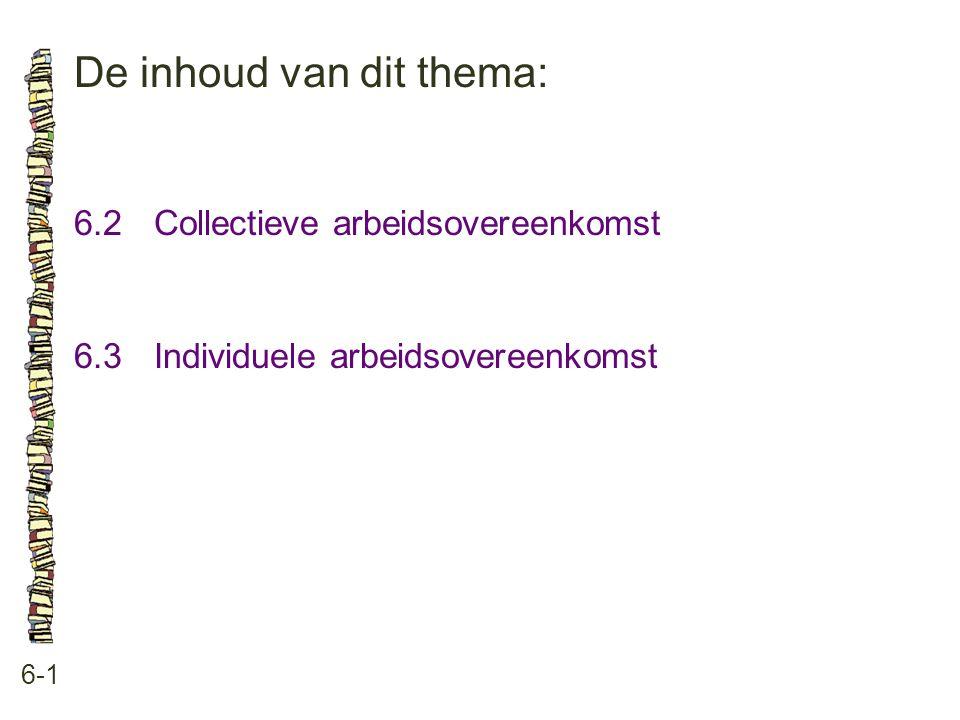 De inhoud van dit thema: 6-1 6.2Collectieve arbeidsovereenkomst 6.3Individuele arbeidsovereenkomst