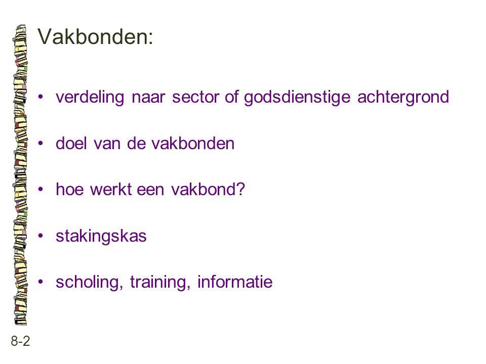 Vakbonden: 8-2 •verdeling naar sector of godsdienstige achtergrond •doel van de vakbonden •hoe werkt een vakbond? •stakingskas •scholing, training, in
