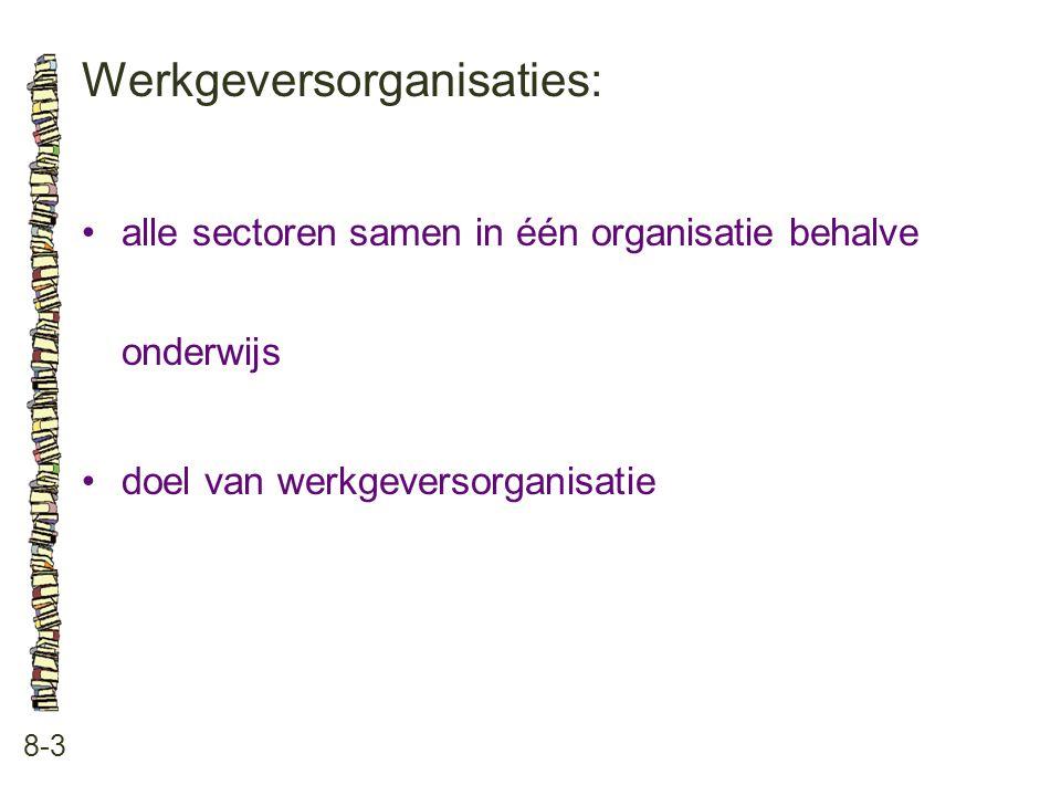 Werkgeversorganisaties: 8-3 •alle sectoren samen in één organisatie behalve onderwijs •doel van werkgeversorganisatie