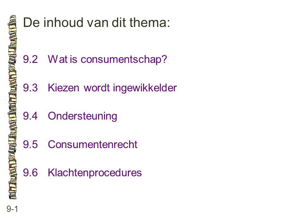 De inhoud van dit thema: 9-1 9.2 Wat is consumentschap? 9.3 Kiezen wordt ingewikkelder 9.4 Ondersteuning 9.5 Consumentenrecht 9.6 Klachtenprocedures