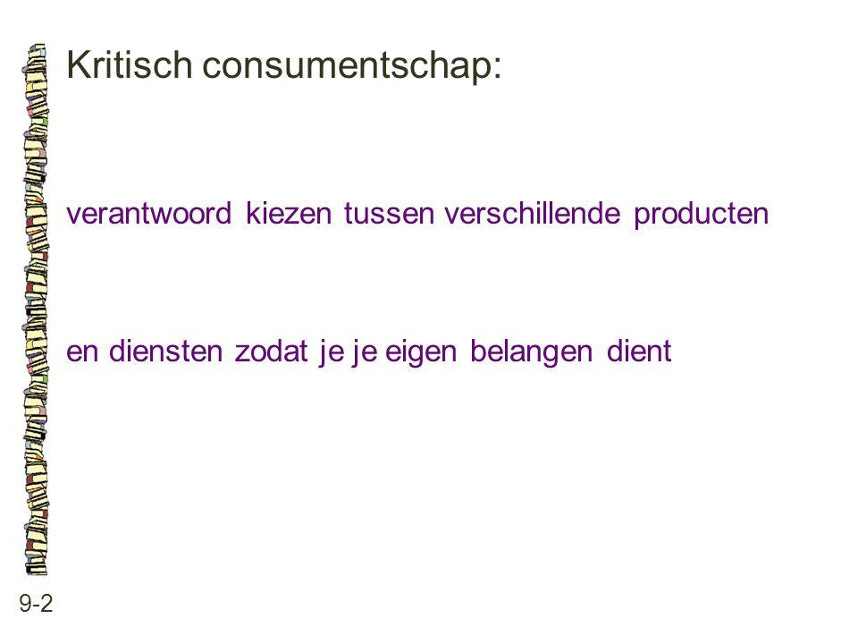 Kritisch consumentschap: 9-2 verantwoord kiezen tussen verschillende producten en diensten zodat je je eigen belangen dient