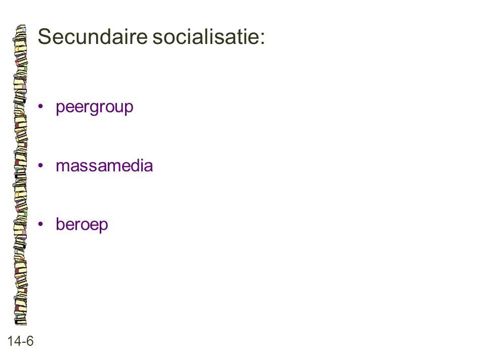 Secundaire socialisatie: 14-6 •peergroup •massamedia •beroep