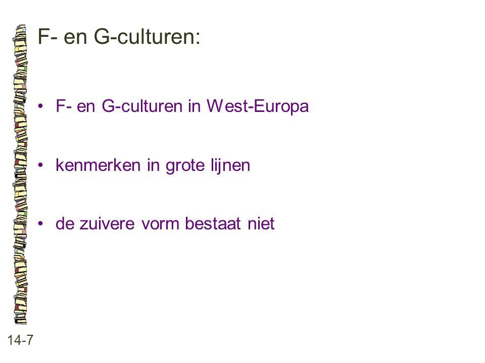 F- en G-culturen: 14-7 •F- en G-culturen in West-Europa •kenmerken in grote lijnen •de zuivere vorm bestaat niet