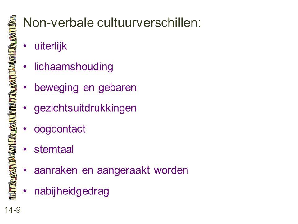 Non-verbale cultuurverschillen: 14-9 •uiterlijk •lichaamshouding •beweging en gebaren •gezichtsuitdrukkingen •oogcontact •stemtaal •aanraken en aanger