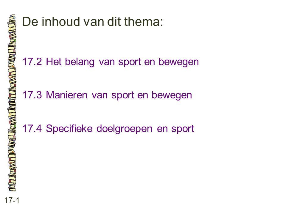De inhoud van dit thema: 17-1 17.2Het belang van sport en bewegen 17.3 Manieren van sport en bewegen 17.4 Specifieke doelgroepen en sport