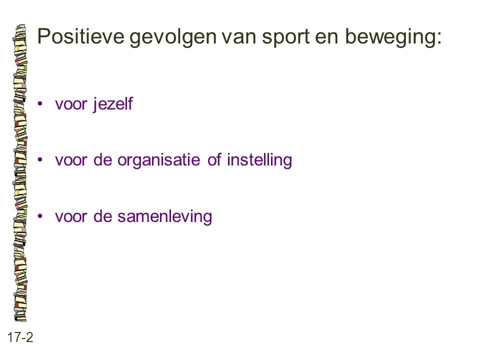 Positieve gevolgen van sport en beweging: 17-2 •voor jezelf •voor de organisatie of instelling •voor de samenleving