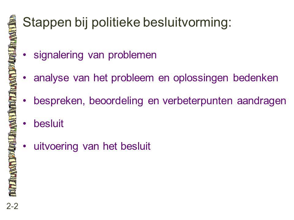 Stappen bij politieke besluitvorming: 2-2 •signalering van problemen •analyse van het probleem en oplossingen bedenken •bespreken, beoordeling en verb