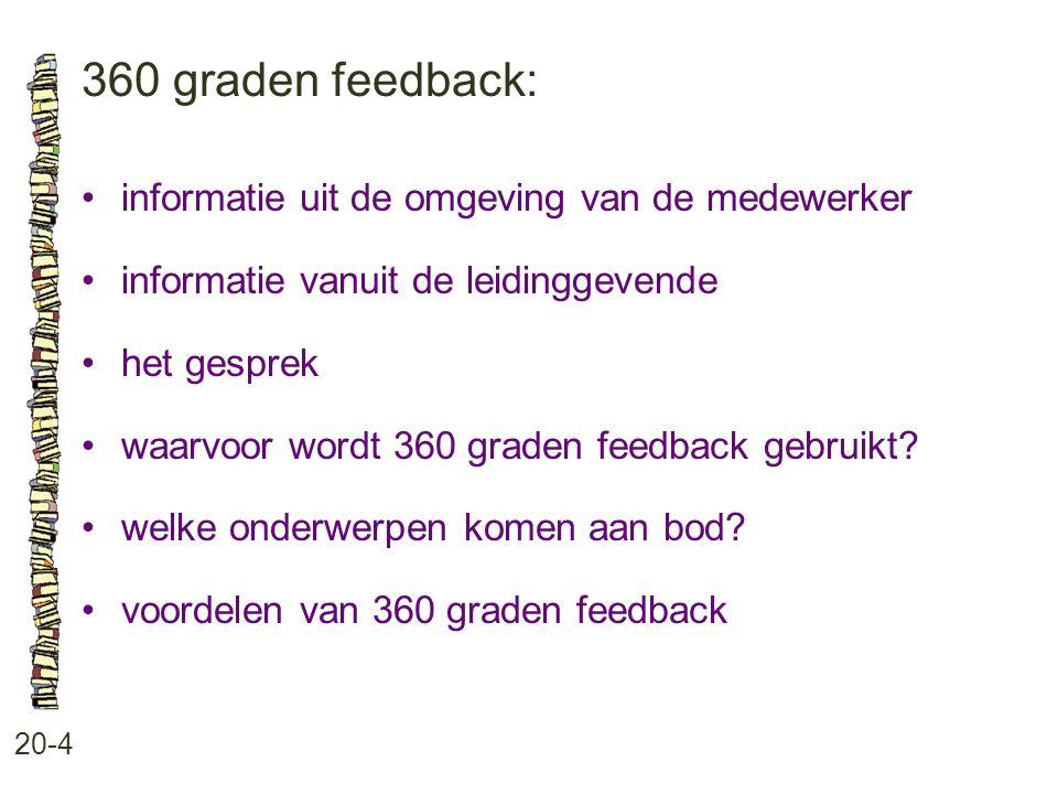 360 graden feedback: 20-4 •informatie uit de omgeving van de medewerker •informatie vanuit de leidinggevende •het gesprek •waarvoor wordt 360 graden f