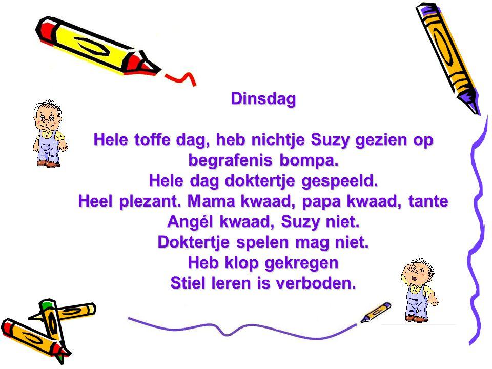 Maandag Sinterklaas gaan halen bij bomma en bompa. Alleen knikkers gekregen. Stom speelgoed. Heb knikkers op de keldertrap gelegd. Bompa naar beneden