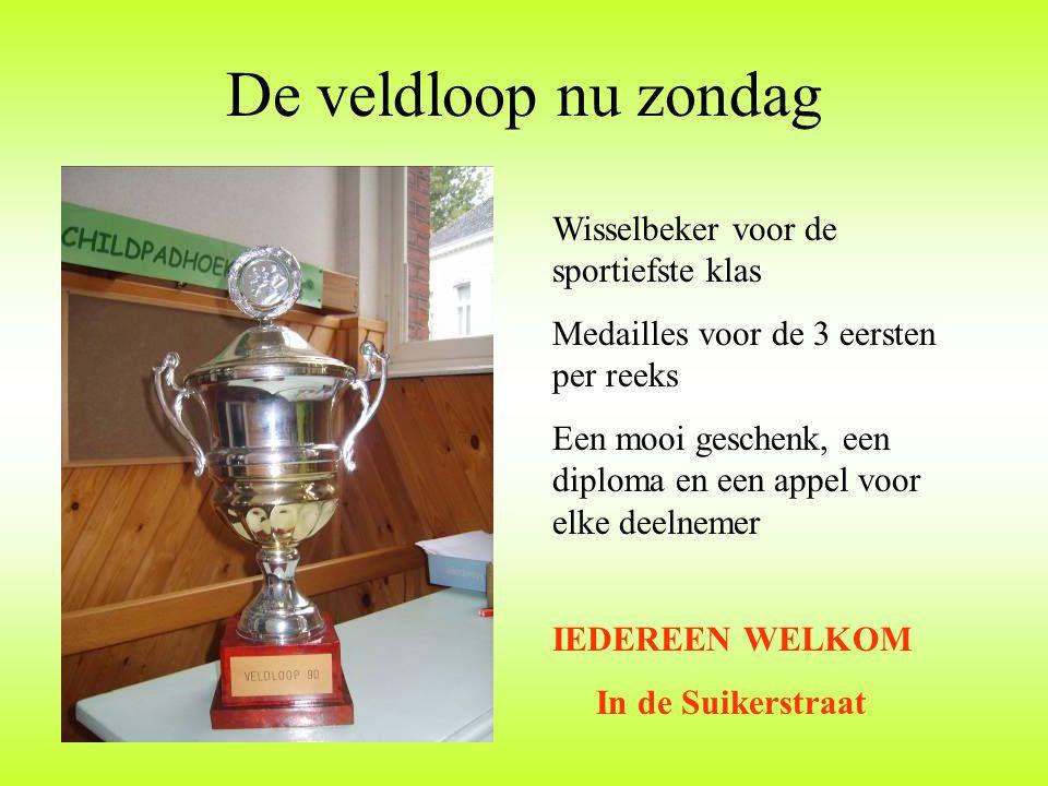 De veldloop nu zondag Wisselbeker voor de sportiefste klas Medailles voor de 3 eersten per reeks Een mooi geschenk, een diploma en een appel voor elke